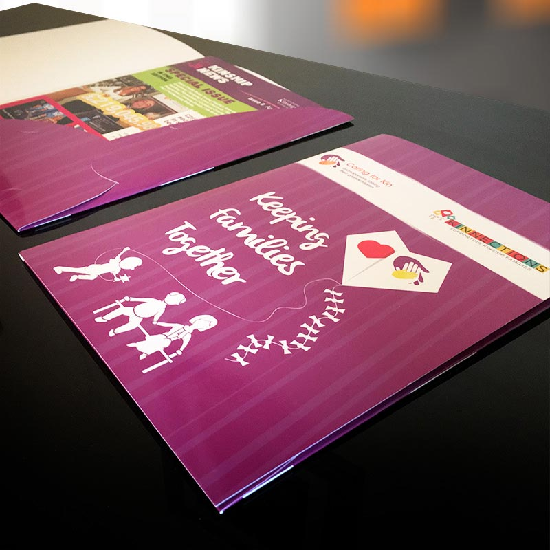 kinnections presentation folder design